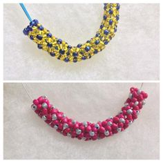 Beautiful completely handmade pendant from scratch with bead weaving technique. Its completely hollow tubular structure inside. Style 1 - blue and yellow glass beads. Style 2 - Hot pink and grey matte finish beads.   Length - 4 inch (bends beautifully)  Put any cord inside it and wear it like a pendant necklace. I am adding lighter shade of blue cord, to bring up the color combination of the pendant of style 1 and for style 2 I will make it beading wire and closures.  Ships in a ready to…