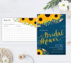 PRINTED Bridal shower invitation and recipe card bundle | Sunflower wedding shower invitation | Blue chalkboard bridal shower invite