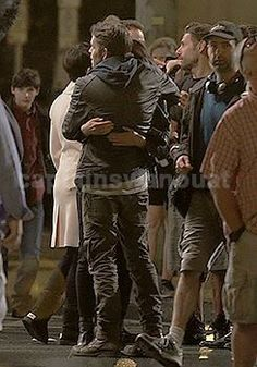 Awesome Lana Sean Jared Ginny Josh (Regina Robin Henry Snow Charming) Regina and Robin hugging #Once #BTS the awesome Once S5 premiere E1 #DarkSwan #Steveston Village Vancouver BC Saturday 7-18-15