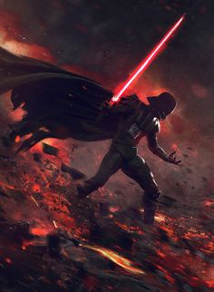 "At the End of All Things - Star Wars fan art by Guillem H. Pongiluppi ""This is a dramatic Star Wars Fanart about the last battle between Vader and Ahsoka Tano"" Star Wars Sith, Star Wars Rebels, Star Wars Clones, Clone Wars, Star Trek, Star Wars Fan Art, Anakin Dark Vador, Anakin Vader, Anakin Skywalker"