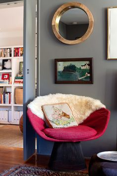 red vintage chair .. and a cozy corner