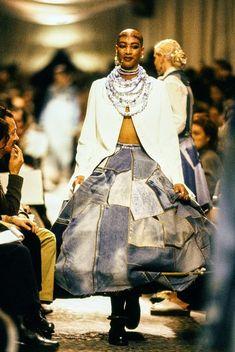 49aca9d3fc873 Jean Paul Gaultier Spring 1994 Ready-to-Wear Collection - Vogue Denim  Patchwork