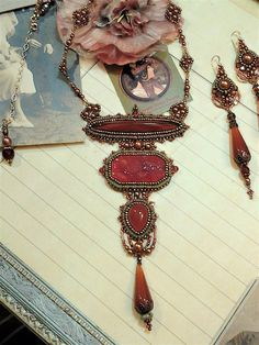 Carnelian green & copper Necklace-Bead Embroidery-Vintage