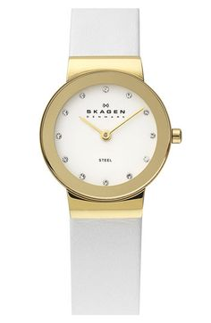 Skagen Round Leather Strap Watch available at #Nordstrom #thingstopurchase