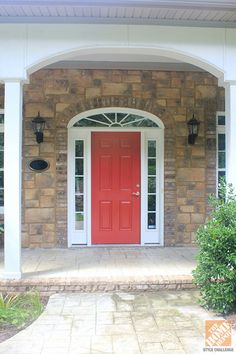 Front Porch Decorating Ideas: Front door makeover with Behr Marquee paint in Awning Red