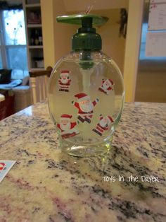 """Make your own holiday soap containers. """"Toys in the dryer"""" has all kinds of cool ideas! Christmas Soap, Christmas Bulbs, Christmas Crafts, Make Your Own, How To Make, Mom Blogs, Soap Making, Holiday Decor, Holiday Ideas"""