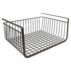 Under Shelf Basket Bronze Kitchen Pantry Steel Wire Storage Dual Hook Organizer