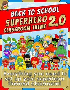 Back to School - SUPERHERO CLASSROOM THEME 2.0Everything you need to set up your superhero themed classroom! This pack (over 750 pages) includes:-Calendar Set.-12 months posters. -Behavior management chart (3 pages).-20 door super heroes.-33 daily schedule cards.- 6 EDITABLE blank schedule cards. -10 subjects posters:Art, Math, Music, Reading, Writing, Science, Social Studies, Spanish, Library, Lunch.-10 student binder covers: Art, Math, Music, Reading, Writing, Science, Social Studies…