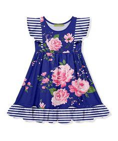 d678c4ecbed1b2 Millie Loves Lily | Blue Floral Stripe Angel-Sleeve Dress - Toddler & Girls