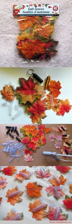 I found craft leaves in the fall at the Dollar Store.  With some plastic nanos or metal bison tubes and a glue gun, they turn into small camo caches that are easy to make but could be a challenge to find. #geocaching #MakerMadness