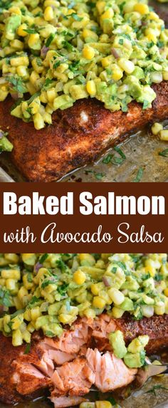 Baked salmon with so much flavor from the generous chili lime seasoning coat and it's paired perfectly with avocado salsa. Baked salmon with so much flavor from the generous chili lime seasoning coat and it's paired perfectly with avocado salsa. Healthy Salmon Recipes, Bacon Recipes, Avocado Recipes, Fish Recipes, Seafood Recipes, Healthy Dinner Recipes, Cooking Recipes, Salmon Dishes, Seafood Dishes