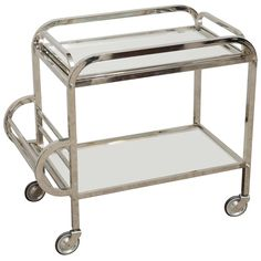 Chrome/Glass Bar Cart   From a unique collection of antique and modern bar carts at https://www.1stdibs.com/furniture/tables/bar-carts/