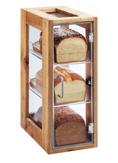 Cal-Mil This unique bread display features a reclaimed wood frame with crystal clear acrylic body. It includes 3 drawers to serve and display fresh-baked breads, pastries, muffins, and more! When used horizontally, these bins are stackable! Cool Kitchen Gadgets, Kitchen Items, Cool Kitchens, Kitchen Decor, Kitchen Design, Bakery Display Case, Bread Display, Display Cases, Bread Storage