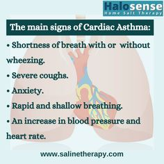 Unlike any other form of asthma, Cardiac asthma occurs when the pumping efficiency of the left side of the heart reduces. This can build up fluid in the lungs causing severe wheezing and breathlessness. The main signs of cardiac asthma: Clean Lungs, Severe Cough, Shortness Of Breath, Health Facts, Pumping, Asthma, Heart Rate, Shallow, Blood Pressure