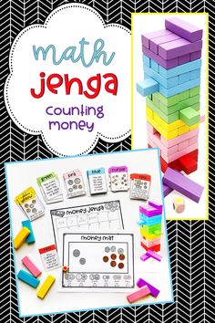 Jenga Math Game Card set for counting money including the skills of counting dollars, cents/coins, comparing values, etc. Correlates with Common Core math standard. Fun and engaging activity for math centers or early finishers! Preschool Math Games, Math Literacy, Math Classroom, Fun Math, Math Activities, Math Resources, Kindergarten Science, Guided Math, Classroom Ideas