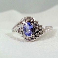 Vintage Tanzanite Diamond Ring White Gold December Birthstone #ecochic