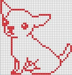 Chihuahua pattern for my giant animal park. Simple Cross Stitch, Cross Stitch Charts, Cross Stitch Designs, Cross Stitch Patterns, Intarsia Knitting, Knitting Charts, Knitting Patterns, Crochet Patterns, Pixel Crochet