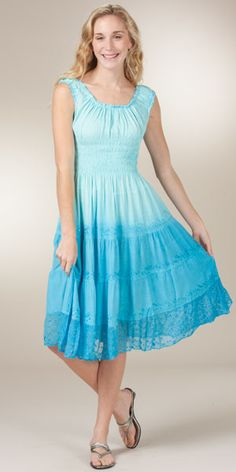 Sleeveless Tiered Sundress - Mid-Length Cotton-Rich Dress in Sky Blue