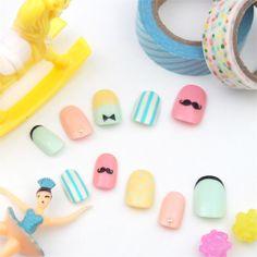Pastel Mustache Nails MiCHi | KAWAII NAIL TIP SHOP Made in Japan| | MiCHi | Japanese Kawaii Nail Tips Store