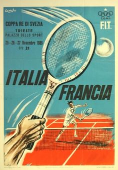 Tennis King of Sweden Cup, 1955 - original vintage poster by Congia listed on AntikBar.co.uk