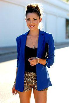Blue blazer, sequin short & black tank