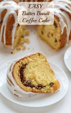 Easy Butter Bundt Coffee Cake. Yellow cake mix and vanilla pudding mix make this the easiest, fluffiest coffee cake recipe of all time!