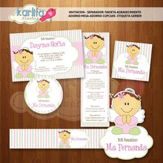 diseñoskarlita: Kit imprimible Bautizo Rosa y verde