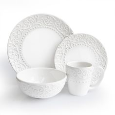 This Bianca White dinnerware set from American Atelier has a classic, simple design.  Elegant earthenware construction, and a perfect way to accentuate both indoor and outdoor dining needs, including your most elegant dinner parties.