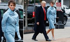Melania Trump channels Jackie Kennedy at inauguration in baby blue -     Melania Trump  made it very clear  that she will be a fashion- forward First Lady, selecting a stunning baby blue dress and jacket for her husband... See more at https://www.icetrend.com/melania-trump-channels-jackie-kennedy-at-inauguration-in-baby-blue/