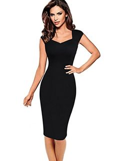 VfEmage Womens Sexy Elegant Summer Casual Party Cocktail Sheath Bodycon  Dress 2612 Black S Office Dresses 5e34182d6c6d
