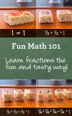 Teach Fractions with Fun Snacks. Use as group quiz? Silent groups - few treats - knives- directions. Walk around and grade.