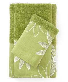 Look what I found on #zulily! Lime Daisy Stitch Towel Set by Popular Bath #zulilyfinds