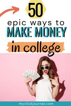 50+ Business Ideas for Students and College Women   50 ways to make money as a college student   money making ideas   myclickjournal Business Ideas For Students, Great Business Ideas, Student Jobs, College Students, Best Startup Ideas, Way To Make Money, Make Money Online, Starting Your Own Business, Virtual Assistant