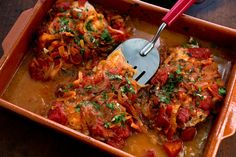 "Greek baked fish with tomatoes and onions. The recipe uses Pacific cod or halibut, black cod or striped bass on the Seafood Watch ""Best Choices"" list."