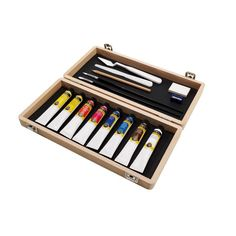 Winsor Newton Galeria Set of 8 Wooden Art Box, Wooden Boxes, School Art Supplies, Craft Supplies, Acrylic Colors, Acrylic Art, Magenta, Art Shed, Artist Supplies