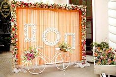 Indian Wedding Indian Wedding Ideas Photos booth for Sangeet Jago Mehndi backdrop Wedding Hall Decorations, Wedding Reception Backdrop, Marriage Decoration, Wedding Entrance, Wedding Mandap, Wedding Photo Booth, Backdrop Decorations, Flower Decorations, Wedding Centerpieces