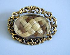 """~ VICTORIAN 18k Hair Brooch/Pendant - Oval With Braided Hair in Two Shades of Blonde and Brown hair - Basket Woven Hair Back, - 2"""" Wide ~"""