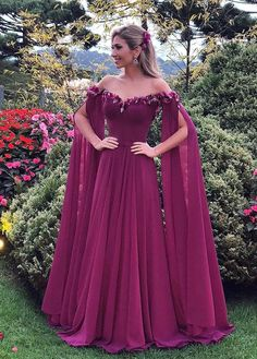 e8248ad028fe Vestido longo vinho marsala by Isabella Narchi Purple Evening Gowns,  Evening Dresses With Sleeves,