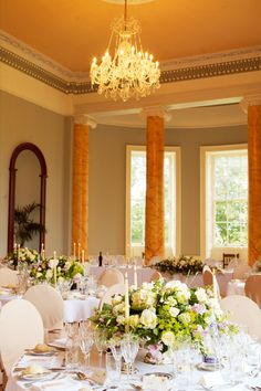 Scottish castle wedding banquet with chandeliers - Wedderburn Castle - image courtesy of Planet Flowers