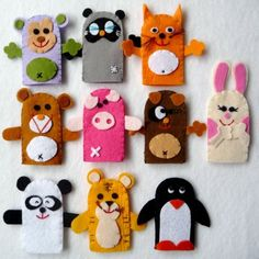 Felt Animal Finger Puppets  Set of Ten by MiChiMa on Etsy