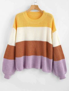 Women Tops Sweaters Lantern Sleeve Stripes Sweater Loose Sweater Women Outfits Casual Dress Women Tops Sweaters Lantern Sleeve Stripes Sweater Loose Sweater Women Outfits Casual Dress MyFashion Clothing Home nbsp hellip Mode Outfits, Casual Outfits, Fashion Outfits, Trendy Fashion, Style Fashion, Loose Sweater, Sweater Cardigan, Pullover, Cute Sweaters