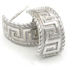 White gold 14k, ladies greek design Earrings Greek Design, Gold Earrings, White Gold, Lady, Bracelets, Silver, Jewelry, Gold Stud Earrings, Bangles
