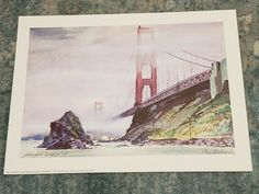 "FLOYD HILDEBRAND Print GOLDEN GATE BRIDGE in Fog 11.5 x 15"" Cal. Savings & Loan #CALIFORNIASAVINGSLOANCOMPANY Artwork Display, Fog, Modern Artwork, Vintage Advertisements, San Francisco Artwork, San Francisco Art, Floyd, Artwork, Prints"