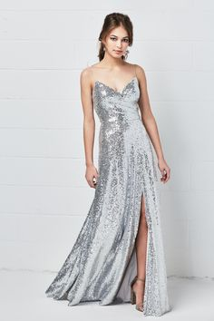 Style 5300 Anzen from Watters is a floor length Eclat Sequin bridesmaid dress with a sweetheart neckline, spaghetti straps, and a front slit skirt. Sparkly Wedding Gowns, Sparkly Bridesmaids, Vintage Bridesmaid Dresses, Wedding Dresses, Prom Dresses, Bridal Gowns, Pretty Outfits, Pretty Dresses, Shops