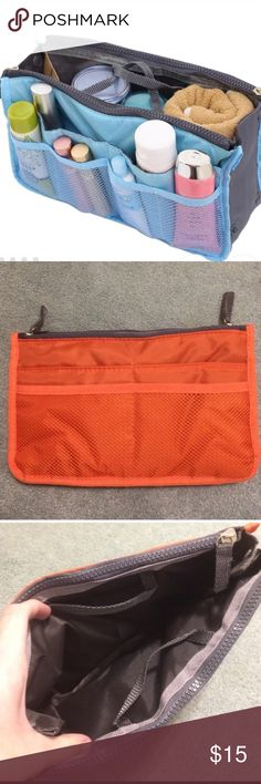 NEW COLLEGE/PURSE/MAKEUP ORGANIZER This carry-all can be used for many purposes! It's never been used and it's very spacious. 11 inches across, 7 inches high. (The stock photo is blue, the one I am selling is orange) Makeup
