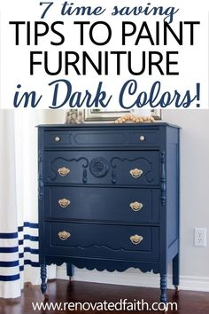 Best Tips for Painting Furniture in Dark Colors - - Benjamin Moore Hale Navy is the perfect navy for walls, cabinets and even furniture. Be sure to use these tips before your next painting project! Navy Blue Furniture, Blue Painted Furniture, Chalk Paint Furniture, Colorful Furniture, Cool Furniture, Furniture Refinishing, Paint A Dresser, Paint Bedroom Furniture, Navy Blue Dresser