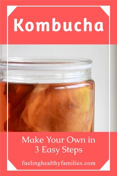 Homemade kombucha is easier than you think! Make at home yourself in three easy steps. Tea Recipes, Whole Food Recipes, Healthy Recipes, Healthy Eats, Healthy Foods, Kombucha Recipe, Fermented Tea, Kombucha How To Make, Brew Your Own