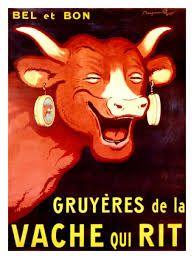 """Este cartel es un buen ejemplo de una mezcla de varios grados de iconidad. Tenemos la vaca por parte figurativa. Pero el hecho de que la vaca sea roja es por parte un simbolismo a la marca. La gente lo sabe y cuando ve esta vaca piensa a """"La vache qui rit""""."""