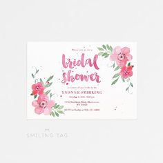 Printable Bridal Shower Invitation Printable - Floral Bridal Shower Invites - Ready to Print PDF - Letter or A4 Size (Item code: P702)