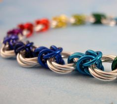 Rainbow Linked Byzantine Anklet